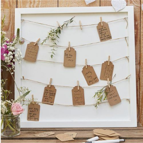 Rustic Country Peg & String Framed Guestbook (each)
